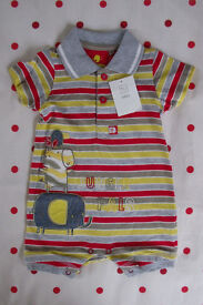 ROMPER:new with tag Tu/Sainsburys multi-colour cotton jersey short sleeve/collar.3-6 mths.£2.50 ovno