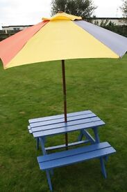 Kids wooden picnic table - with canvas umbrella