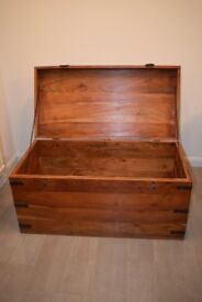 Solid antic Chest Box made of wood and metal fittings.