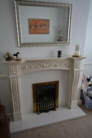 Marble effect fire surround with marble hearth and back
