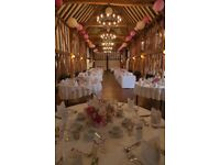 90 beautiful paper lanterns in different shades of pink and Ivory.