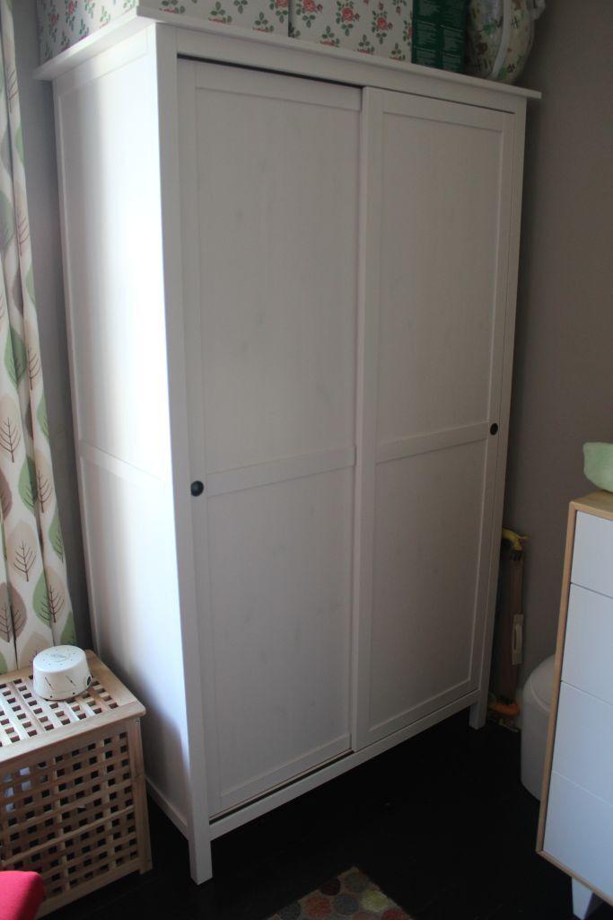 ikea hemnes wardrobe with 2 sliding doors white stain dismantled for