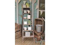 Wooden Retro Ladder Vintage Look ideal for DIY, flower arrangement, furniture, book shelf, flowers