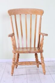 LARGE SOLID BEECH CHAIR WAXED LIGHT COLOUR - CAN COURIER