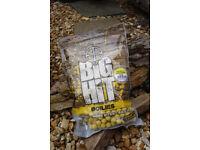 Crafty Catcher. Big Hit 15mm Boilies 1Kg Bag with free Pop Ups. Various Flavours. Carp Fishing Bait.