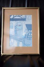 Pair of vintage Rosemarie Belden prints in heavy brass frames