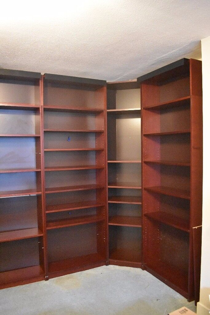 Billy Ikea Mahogany Bookcases x 7 - Including Corner Unit and Glass Doors