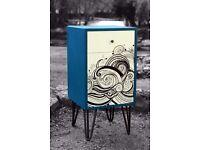 Furniture Art - Black print Upcycled Bedside Tables - OP Woodcraft