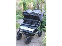REDUCED - Excellent condition! Mountain Buggy Duet V2 Double Buggy, Flint Grey, with raincover(s).
