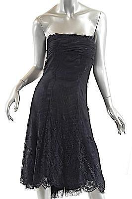J MENDEL Black Lace Strapless Evening+Formal+Cocktail Dress Fishtail Rear Hem S