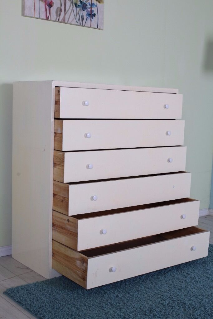 LARGE OLD SOLID PINE CHEST OF DRAWERS 6 DRAWERS IN TOTAL SHABBY CHIC PAINTING PROJECT - CAN COURIER