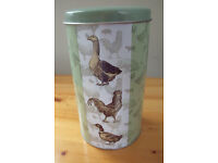Green/goose/chicken/duck design metal canister/container/tin.