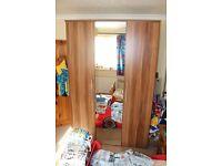 Stunning Walnut Colour 3 doors mirrored Wardrobe - RRP £375