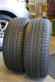 2 Goodyear Excellence tyres, 205/55R16. 6mm and 5mm tread remaining. VG condition.