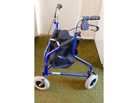 Walking Aid - 3 wheels with shopping basket