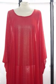 Red Thick Chiffon Styled Abayah/Kaftan/Long Dress - ZeeHM Fashion