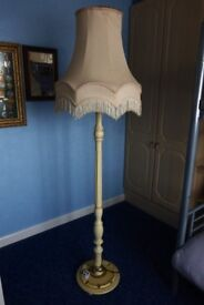 Standard Lamp, French style fluted column, ivory finish. Comes with large shade.