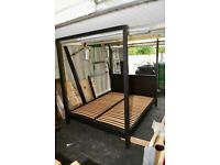 BLACK ASH QUEEN SIZE BED FRAME 4 POSTER
