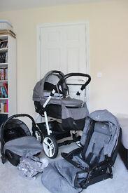 Pram VENICCI® SOFT Denim Grey like new, (CarryCot, Pushchair SeatUnit, Car SeatUnit, Changing bag
