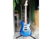 Indie Super S (Stratocaster shape) in blue with pearlised fingerplate
