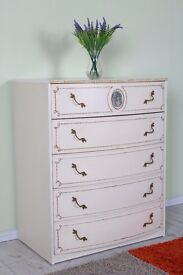 BOW FRONTED LOUIS FRENCH CHEST OF DRAWERS 5 LARGE PAINTING PROJECT - CAN COURIER