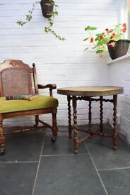 Antique Vintage Benares Indian Etched Brass Coffee Occasional Side Folding Table