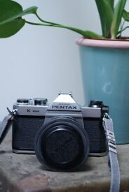 Film Camera Pentax Asahi K1000 35mm with Pentax 55mm F2 Lens in Pristine Condition