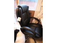 Almost New Leather Effect Adjustable High Back Wheels with Armrest Office Chair Black