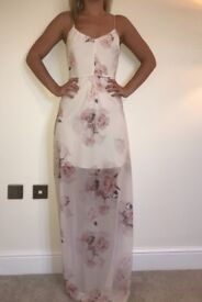 ASOS Size 8 maxi dress in beige with flower print