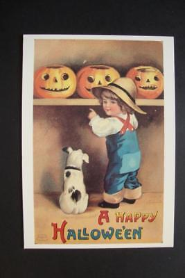 666) A HAPPY HALLOWEEN (EARLY 20TH CENTURY) ~ OLDHAM HALL PUMPKINS ~ 1988 REPO - Early Century Halloween