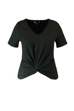 MS Mode Dames T-shirt met knoopdetail Zwart