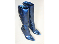 Metallic Blue Patent Knee-High Boots size 6