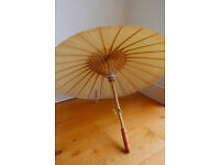 3 x Waxed cotton ivory wedding parasol