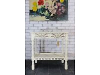 Gorgeous vintage Priory cream console table with shelf & drawers