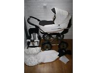Emmaljunga Edge Duo Combi Pram Nougat Leatherette (white /brown) ***can post***