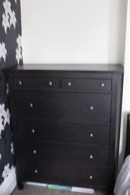 """A """"Hemnes"""", Ikea, chest of six drawers in black- perfect condition"""