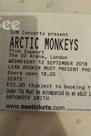 ** 1 x Arctic Monkeys Tickets - o2 - Wednesday 12th September **