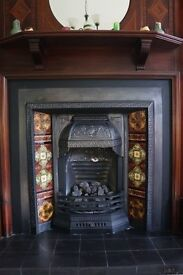 Lovely Antique Cast Iron & Decorative Tiled Fire Insert