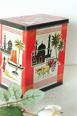 SCATOLA D'EPOCA  IN LATTA  PER IL TE'  OLD TIN BOX  VINTAGE TEA CADDY