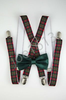 Forest Green Bow Tie Red And Green Plaid Suspender Combo Set Wedding SDBT046