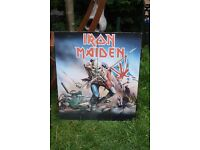 Iron Maiden Dartboard and cabinet. 6 darts. The Trooper