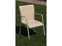 Meeting / Reception Chair in Cream Leather by Tract
