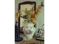 vintage very large vase with artificial flowers