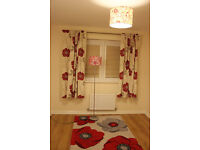 RUG, CURTAINS, FLOOR LAMP AND CEILING LIGHT SHADE