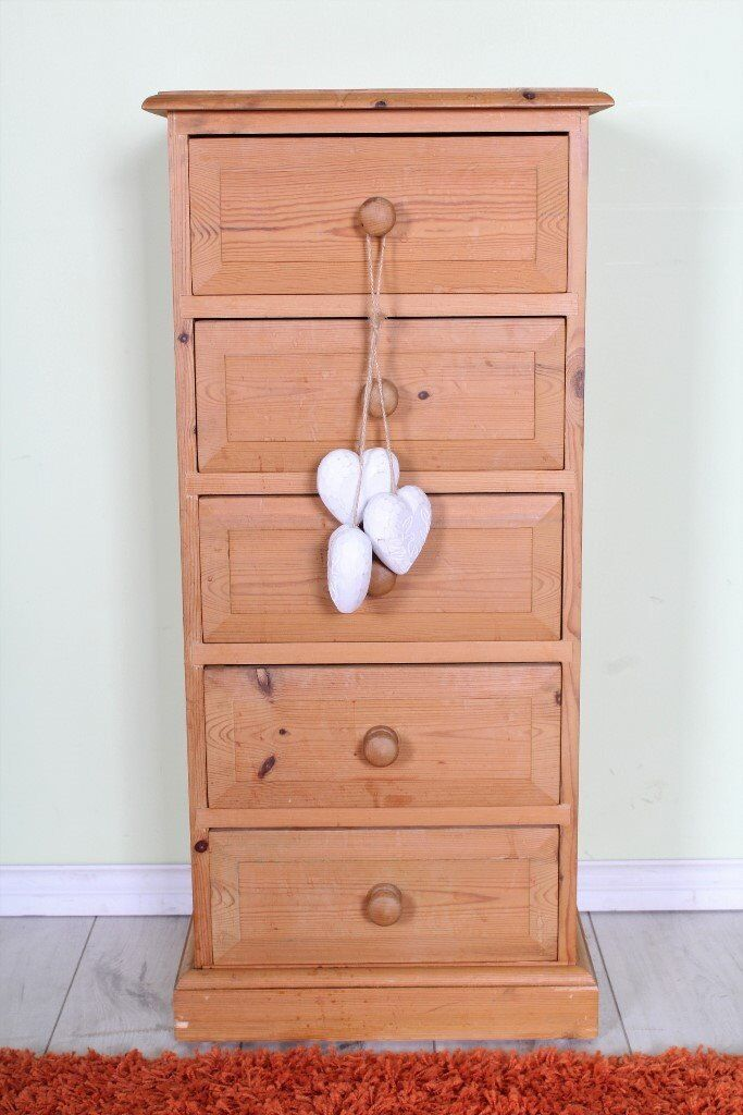 DELIVERY OPTIONS - SHABBY CHIC SOLID SLIM PINE 5 DRW CHEST OF DRAWERS (PROJECT)