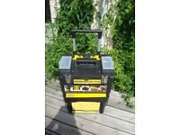Stanley Mobile Work Centre, with pulling handle and wheels. 2 tiers can be separated. Good condition