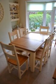 Cotswold Cheltenham Cream oak dining table & six chairs