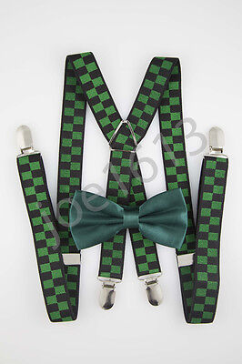 Forest Green Bow Tie Forest Green And Black Suspender Combo Set Wedding SDBT134