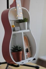 Upcycled Home Decor - Guitar Shelf Pink/White