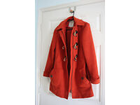 Mantaray Orange Duffle Coat, Size 8, £10